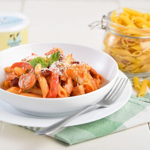 Creamy Chicken and Chorizo Pasta Dish
