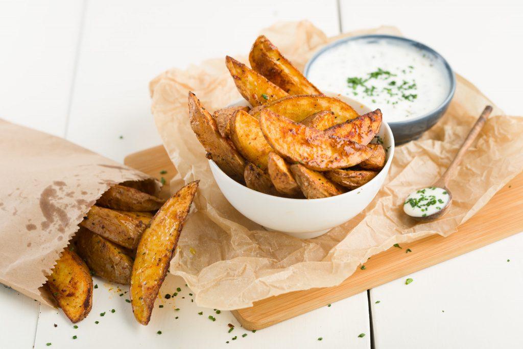 Glenilen Farm Garlic Yoghurt Dips with Spicy Potato Wedges